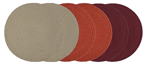 Natura Living Dining Table Kitchen Placemats, 15 Inches Round, 1 Set (6 pieces, Mix-and-Match)