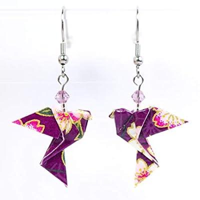 Boucles d'oreilles colombes origami verticales violettes avec des fleurs blanches - crochets inox