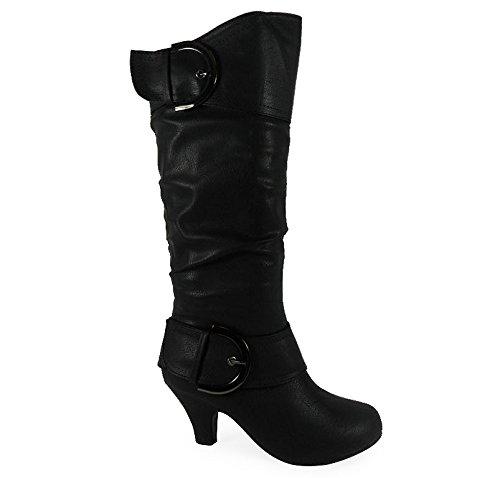 Loudlook Nouveau Dames Femmes Mi-Mollet Boucle Pixie Mode Rouched Bottes Chaussures Taille 3-8 Black Pu