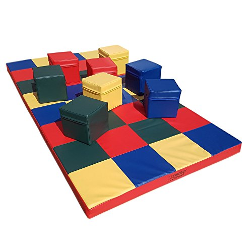NiroSport Weichbodenmatte 200 x 100 x 8 cm Mosaik Spielmatte Gymnastikmatte Trainingsmatte Fitnessmatte Turnmatte Sportmatte Bodenmatte Schutzmatte Übungsmatte wasserdicht (mit 8 Würfeln)