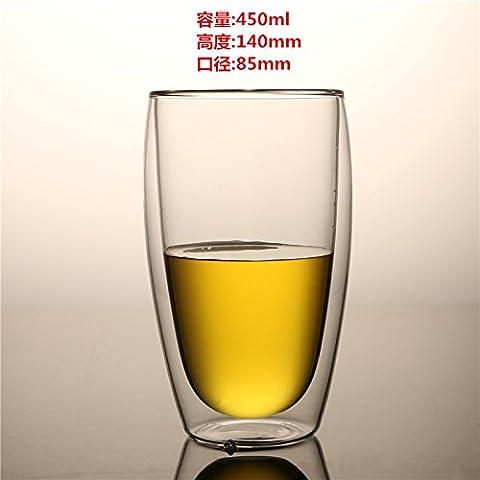 double verre transparent, tasse de thé, jus de fruit tasse, tasse à café latte pour la coupe,,450 ml (chi)