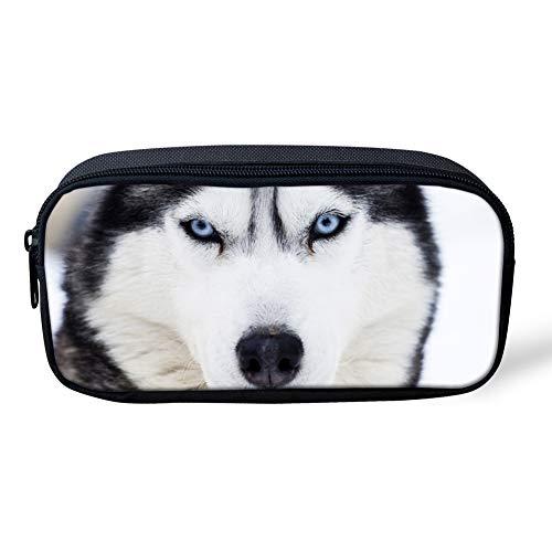 POLERO Husky-Bleistift-Kasten-große Kapazitäts-Feder-Kasten-Doppelreißverschlüsse Büro Stift-Halter-Organisator Stationär-Beutel-Kosmetik-Beutel für Gilrs Jungen und Erwachsene Netter Hund gedruckt