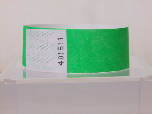 pack of 250, Paper like Tyvek security Wristbands, disposable with tamper proof peel and seal system (Green, 19mm x 254mm)