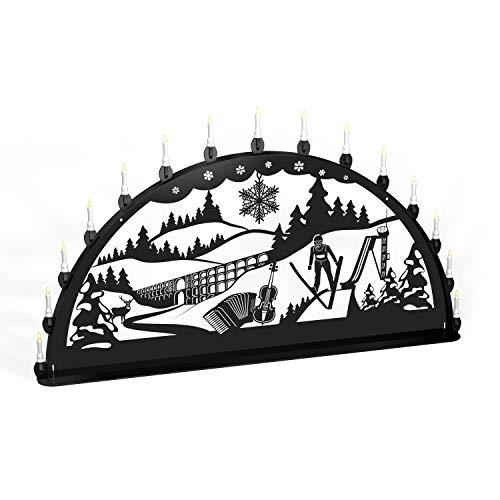 Schwibbogen Lichterbogen Metall - Motiv: Vogtland - XL 1,2 Meter Breite Außen-Bereich schwarz * groß *