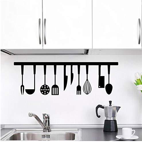 Wc-asdcc 3D Effekt Löffel Gabel Spachtel Wandaufkleber Restaurant Wohnkultur Küche Werkzeuge Wandtattoos Schwarz Buchstaben Wandkunst DIY Tapete