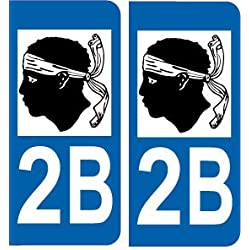 SAFIRMES 2 Autocollants de Plaque d'immatriculation Auto 2B Corse - Logotype