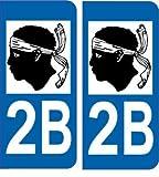 2 Autocollants de plaque d'immatriculation auto 2B Corse - LogoType