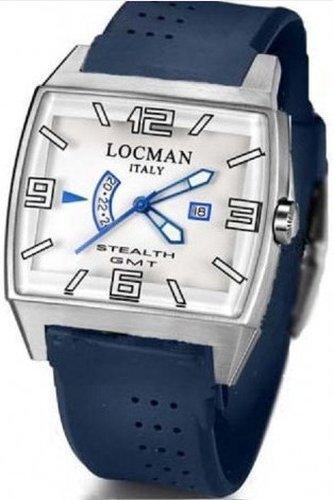 Locman Stealth Video / orologio uomo / quadrante bianco / cassa acciaio e titanio / cinturino gomma blu