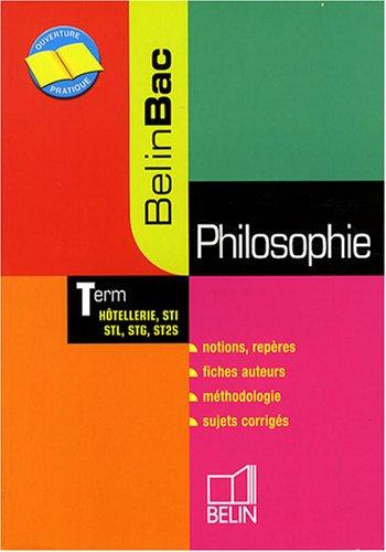 Philosophie Tle Hôtellerie, STI, STL, STG, ST2S
