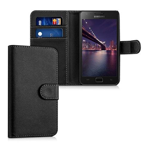 kwmobile Wallet Case Hülle für Samsung Galaxy S2 S2 PLUS - Cover Flip Tasche mit Kartenfach in Schwarz (Samsung Galaxy S2 Case)