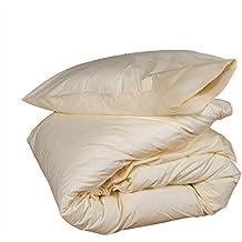 Homescapes Juego de Funda Nórdica y 1 fundas de almohada color Crema Algodon Egipcio de 160