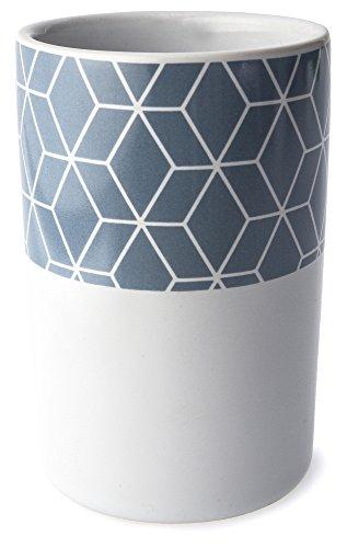 """Moderner Zahnbürstenhalter (Keramik Zahnputzbecher """"Geometric"""", runder Zahnbürstenhalter weiß - blau für Zahnbürste und Zahnpasta, moderner Keramik Becher ca. 11 cm hoch)"""