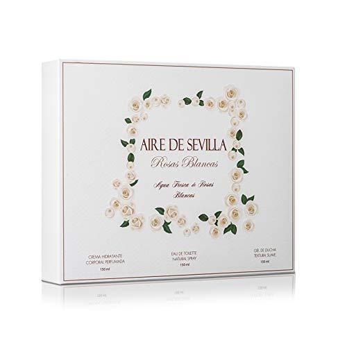 Aire de Sevilla Set Belleza Edition Weiße Rosen - Feuchtigkeitscreme Körper, Eau de Toilette, Gel Peeling - White Rose Rose Feuchtigkeitscreme