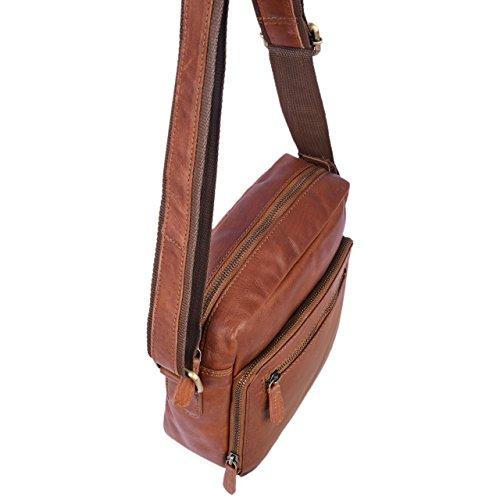 STILORD Nathan Borsello da Uomo a tracolla in pelle Piccola borsa messenger in Cuoio a Spalla per Viaggi Escursioni, Colore:cognac marrone scuro cognac-marrone