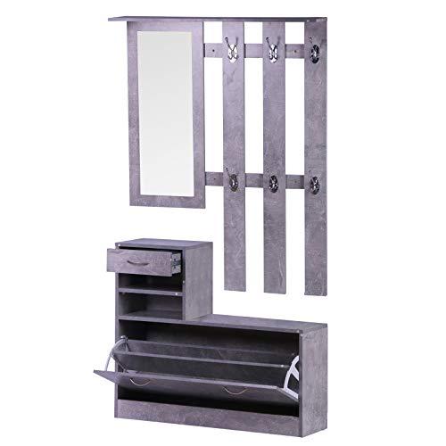 HOMCOM Conjunto de Muebles de Entrada Recibidor Pasillo Set de 3 Piezas Perchero Espejo Zapatero con Cajón 90x22x116cm Gris