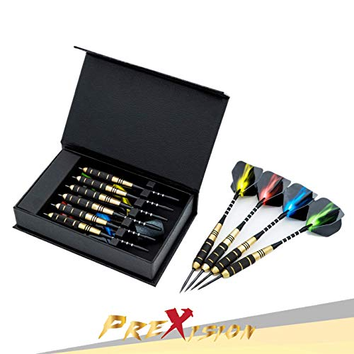 PreXision Professional Steeldarts Darts - Pfeile Set mit Metallspitze (6 Stück) Precision Steel Dartpfeile mit Performance inkl. 12 Flights 24g Perfection Steeldart Dart