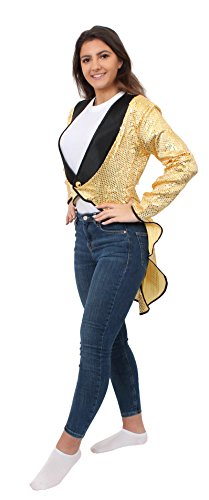 (Frack/Tailcoat Gold =Pailletten =6 GRÖSSEN=STEPTANZ KOSTÜM Verkleidung=ERHALTBAR in 3 Verschiedenen VARIATIONEN=Frack-XL)