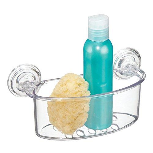 mDesign Estante para ducha con fijación por succión - Repisa para baño porta esponja, champú o acondicionador - Jabonera multiuso para ubicar esponjas, rasuradoras, paños y más - transparente