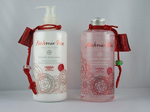Lanna Oriental Spa Aromatic Kashmir Rose Set Shower-Gel 300ml und Body-Lotion 290ml mit natürlichem Rosenöl -