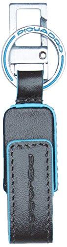 Piquadro blue square portachiavi, unisex adulto, grigio