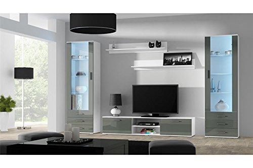 Ensemble Meuble TV Design SANO 4 - Blanc et Gris