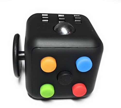 Best Selling Fidget Cube from FidgetPro - Best Rated Fidget Cube on the Market - Premium Quality with Rubber Button and Vinyl Plastic EDC Focus Toy for Kids & Adults on Amazon Guaranteed - Perfect For ADD, ADHD, Anxiety and Stress - 100% Money Back Guarantee - Rainbow on Black - Warehoused and Shipped by Amazon