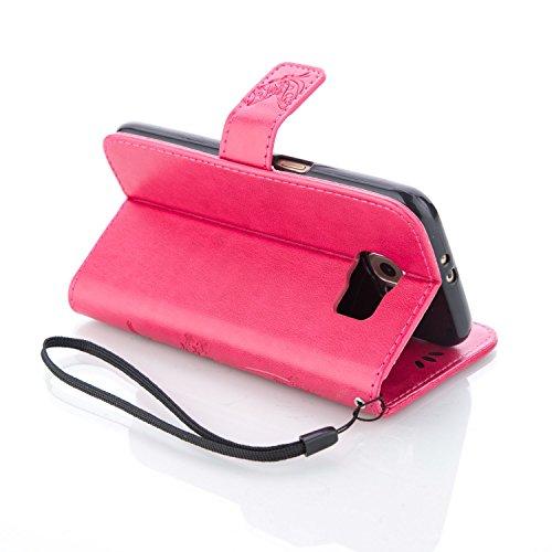Meet de Case pour Apple iPhone 6 Plus / iphoen 6S Plus (5,5 Zoll) PU Housse, papillon print / Folio Wallet / flip étui en cuir / Pouch / Case / Holster / Wallet Style de Coque pour téléphone portable  rose