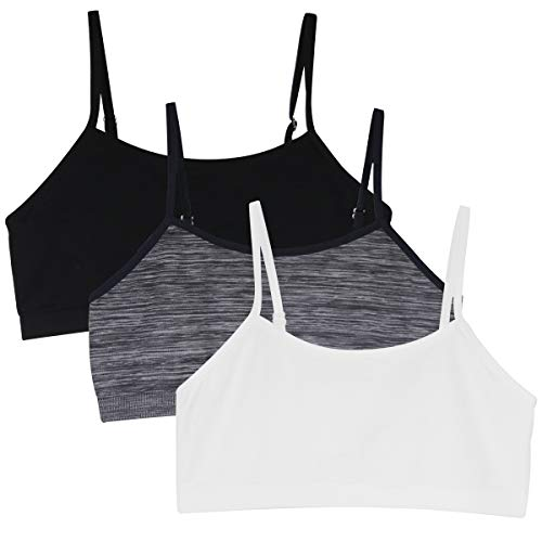 Zurück zu Schule 3pcs Mädchen-Sport-BH-Westen Unterwäsche-Oben justierbarer Schulter-Bügel.YINI, 3 Stück (Schwarz / Weiß / Grau), S(58cm super elastisch)