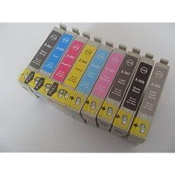 9cartouche d'encre Compatible pour Imprimante Epson Stylus Photo R2880-T0961-9. 18.2ml chaque, T0961K3VM T0963-T0964-T0965T0966K3VM T0968T0969