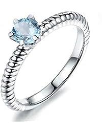 beba607e5755 Aooaz Bijoux Argent 925 Bague Femme Rond Bague Anniversaire Engagement