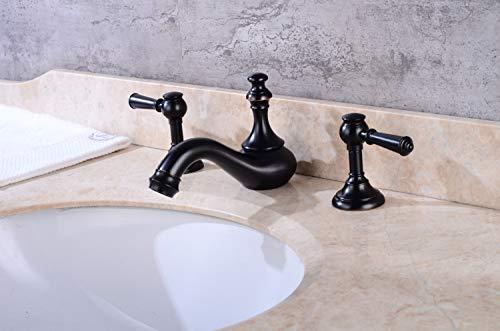 Dusch Badewannenarmaturen Verchromte Schwarze Bronze Mit Drei Löchern, Heißem Und Kaltem Wasserhahn Mit Zwei Löchern, Zwei Becken, Drei Waschtischarmaturen, Schwarze Bronze