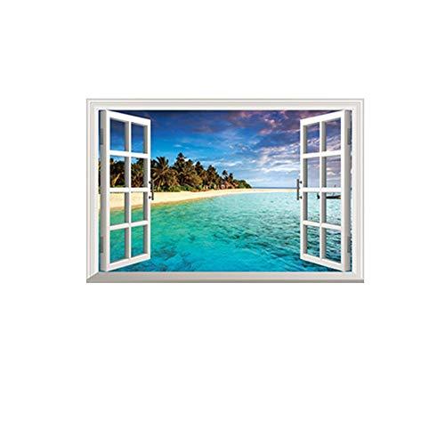 Xcao Abnehmbare Gefälschte Fenster 3D Wandaufkleber Strand Insel Wandbild Kunst Für Wohnzimmer Kinderzimmer Dekoration Kind Geschenk