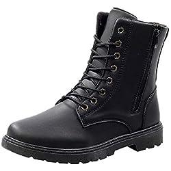 Botas de Cuero para Hombre,ZARLLE Moda Invierno Botas de Nieve Botas para Hombre Militares Botas de Combate ultraligeras y Transpirables Zapatos al Aire Libre Botas tácticas del Desierto Cuero