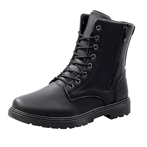 MAYOGO Martinstiefel Herren Hoch-top mit Reißverschluss,Britische Booties Winterstiefel Schneeschuhe Wildleder Leather Boots,Warm Gefüttert 39-44