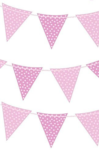 VALUE TWIN PACK Pink & White Polka Dot Colour Pennant Card Bunting Indoor/Outdoor Party Decoration Banner Approx Total 16 Flags 13 Foot by Fun Machine (Dot Retro Pink Polka)