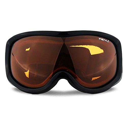 Polarisierte Skibrille Lagoplus OTG von Uniquebella, Anti-Beschlag, UV-400-Schutz, helmkompatibel zum Snowboarden, Skifahren, Skaten, Motorrad- und Fahrradfahren, für Erwachsene und Kinder, Schwarz