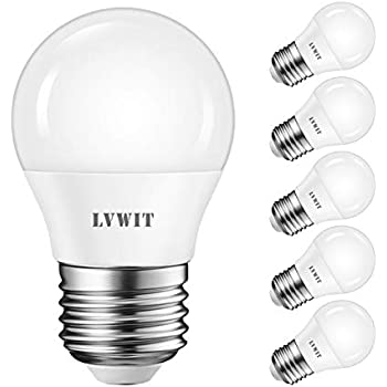 LVWIT Bombillas LED G45 E27 (Casquillo Gordo) - 5W equivalente a 50W, 470 lúmenes, Color blanco cálido 2700K, No regulable - Pack de 6 Unidades.