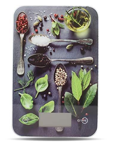Küchenwaage digital Electronische Design Waage mit LCD Display Digitalwaage mit Tara Funktion Einheiten Taste für g, kg, lb, oz, Farben wählbar bis 5 KG Aufhänger als Wanddeko Glasbild (Design Pesto)