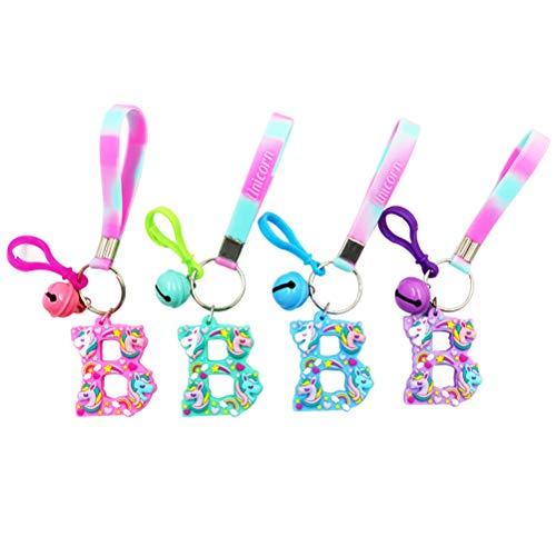 (YeahiBaby 4pcs Einhorn Keychain Partybevorzugung Alphabet Keychain Schlüsselanhänger Geburtstag Party Favor Supplies (rot + grün + blau + lila))