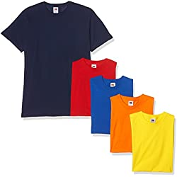 Fruit of the Loom Valueweight Short Sleeve T-Shirt, Multicolore (Navy/Red/Orange/Royal/Yellow 32/40/44/51/K2), XXL (Pacco da 5) Uomo