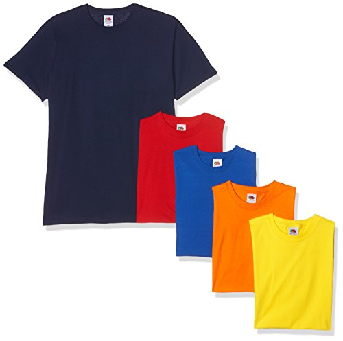 Fruit of the Loom Herren T-Shirt, 5er Pack Mehrfarbig (Navy/Red/Orange/Royal/Yellow 32/40/44/51/K2)