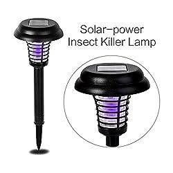 YIERTOWN Solarenergie Insektenvernichter im Freien Insektenlampe Moskito, Fliegen, Mücken und Stinger Bug-Killer mit UV-Licht