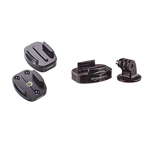 Mantona 21289 GoPro Schnellwechselplatten Set (2 Adapter 1/4 Zoll auf GoPro Schnellwechselsystem, schwarz & AmazonBasics Stativschellen-Set für GoPro Actionkamera, für Dreibeinstative