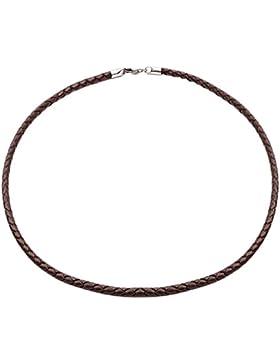 Tribal Steel, Halskette aus braunem Leder, mit Karabiner, 55,8cm lang