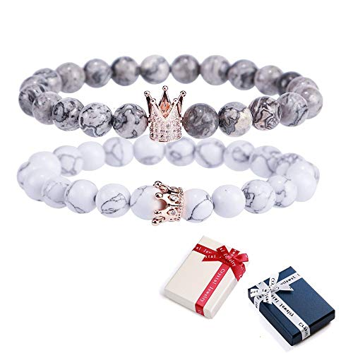 bänder mit Kronen König und Königin Pärchen Armbänder Naturstein Entfernung schwarz Matte und weiß Howlite 8 mm Beads Armband Paar Armbänder Herren Damen Geschenk DT ()