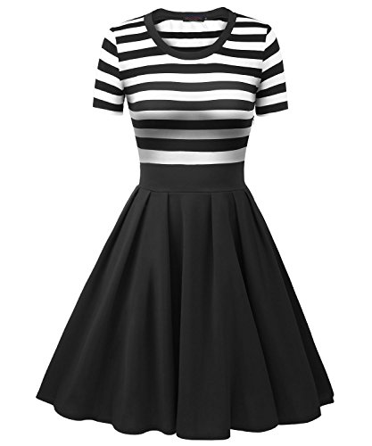 Vessos Women's Vintage Stripes Patchwok A-line Short Sleeve Cocktail Dress