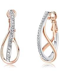 Azora Designer Hoop Earrings Jewellery For Women Rose Gold Color Rime Stone Crystal Earring For Women