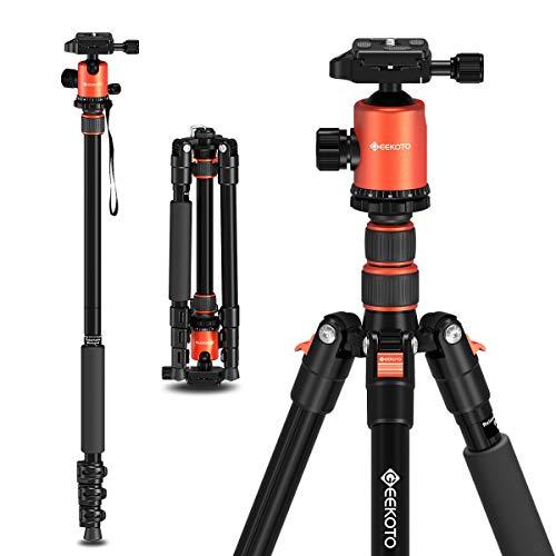 GEEKOTO Stativ Kamera Stativ, Aluminum Reisestativ mit Einbeinstativ und 360° Panorama Kugelkopf, 1/4 Schnellwechselplatte für Canon Nikon Sony bis zu 8kg