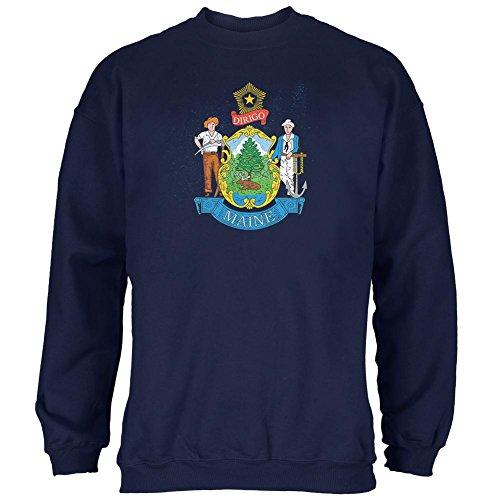 Old Glory Geboren und angehoben Maine State Flag Mens Sweatshirt Navy 2XL (Sweatshirt State Flag)