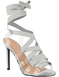 Escarpins à talons aiguille - lacés/brides en plexiglas - femme - tailles 36-41